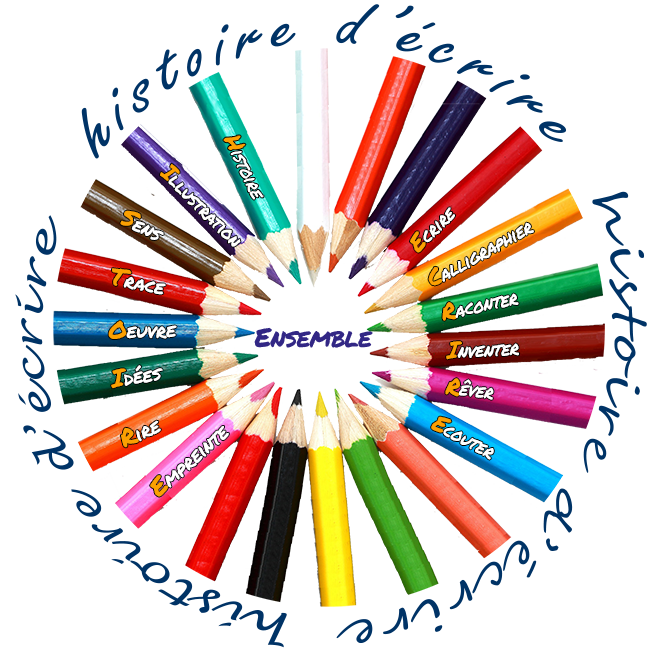 crayons et texte rond libellé script